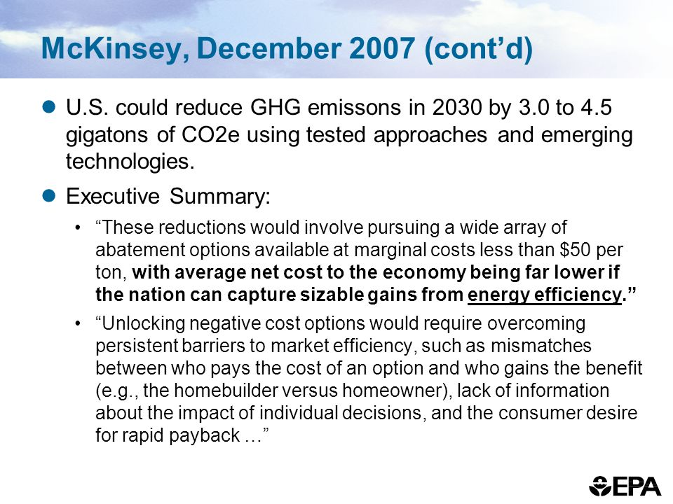 McKinsey, December 2007 (cont'd)