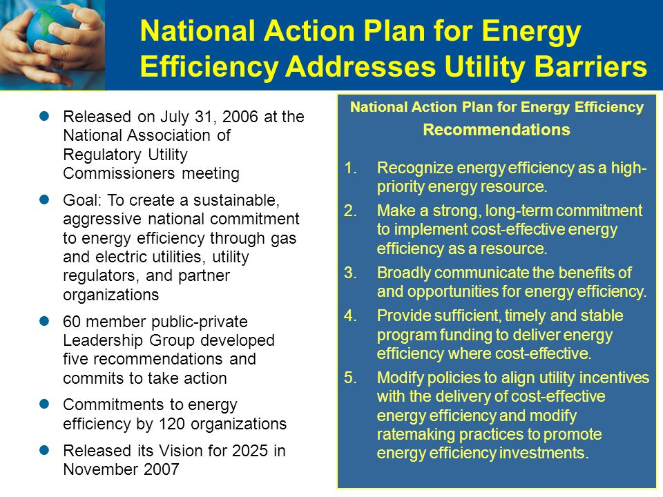 National Action Plan for Energy Efficiency Addresses Utility Barriers