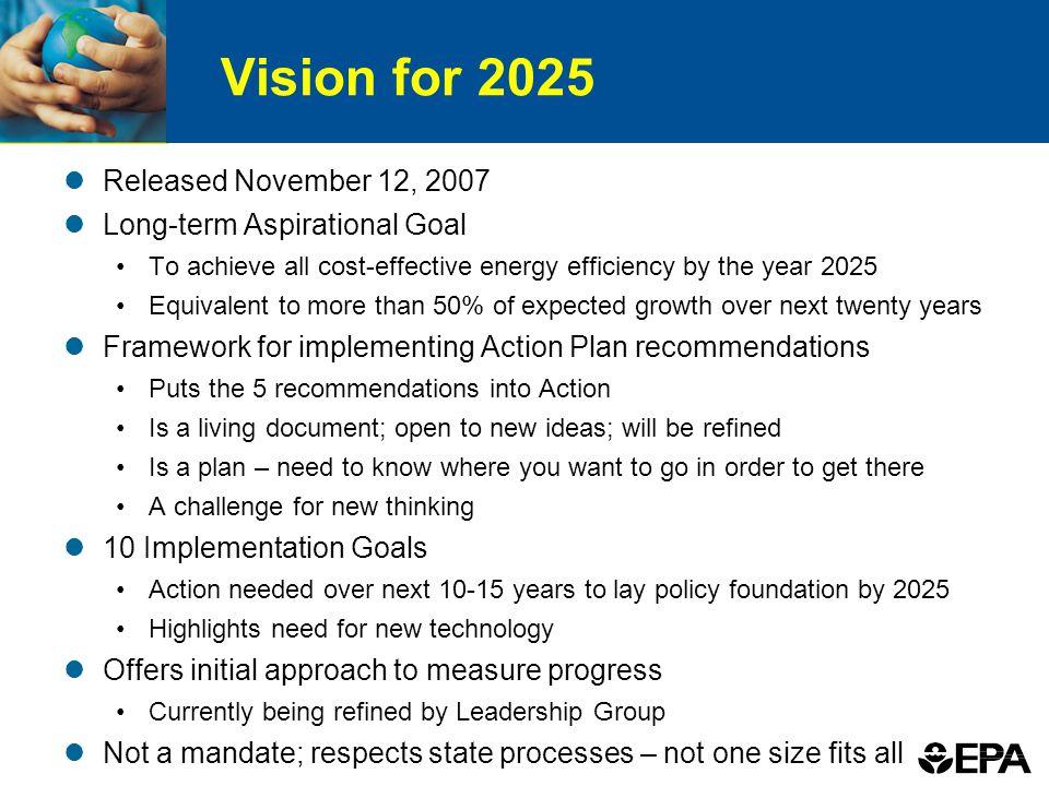 Vision for 2025 Released November 12, 2007 Long-term Aspirational Goal