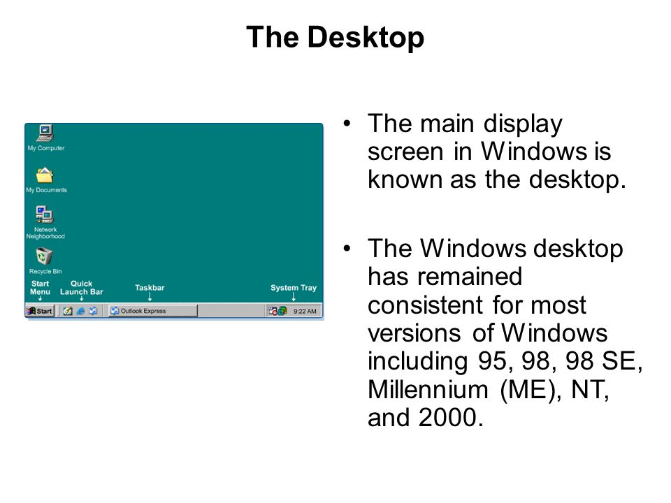 The Desktop The main display screen in Windows is known as the desktop.