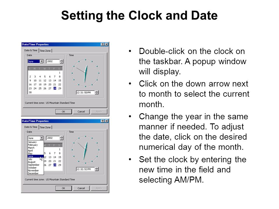 Setting the Clock and Date