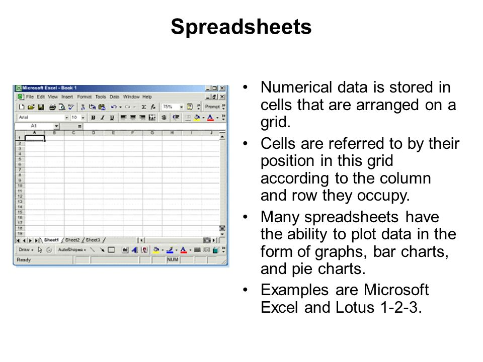 Spreadsheets Numerical data is stored in cells that are arranged on a grid.