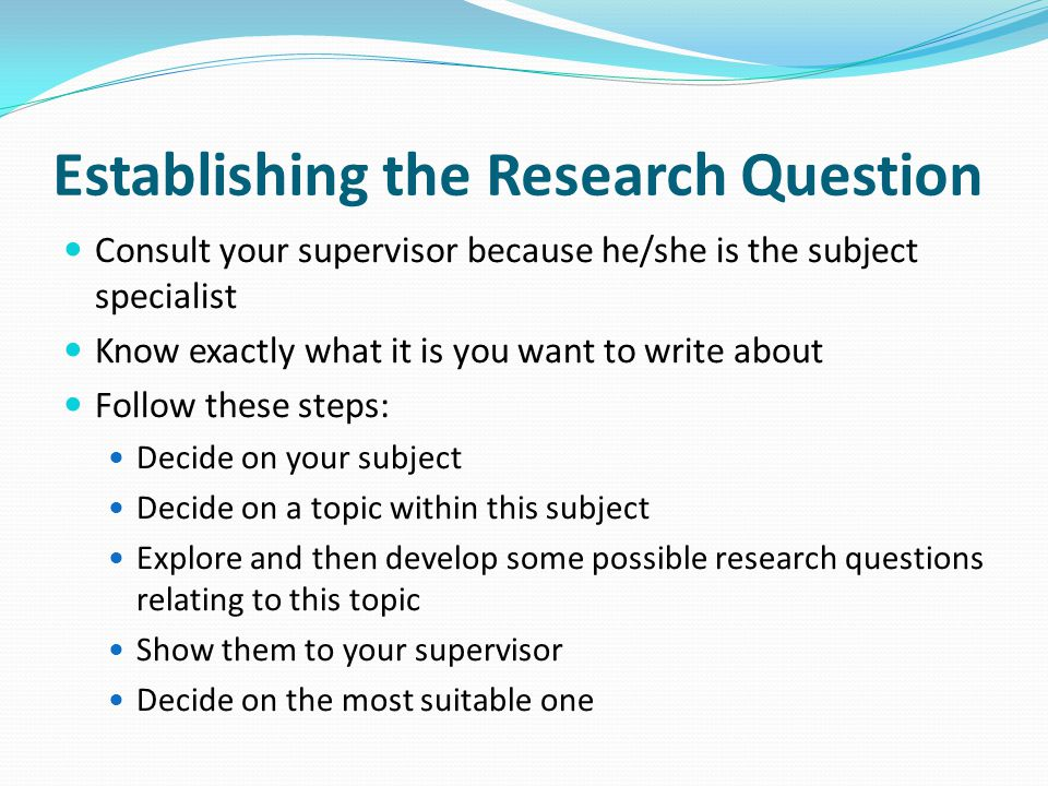 Establishing the Research Question