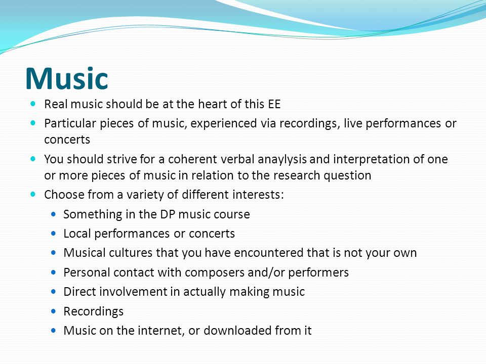 Music Real music should be at the heart of this EE