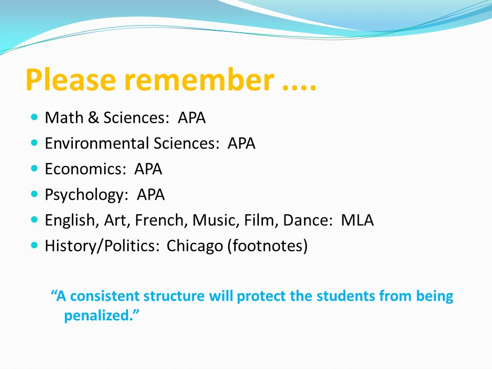 Please remember .... Math & Sciences: APA Environmental Sciences: APA