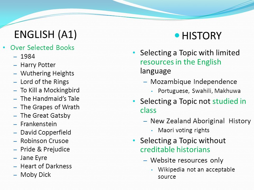 ENGLISH (A1) HISTORY. Over Selected Books Harry Potter. Wuthering Heights. Lord of the Rings.
