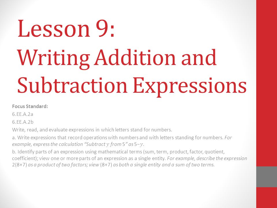 Lesson 9: Writing Addition and Subtraction Expressions
