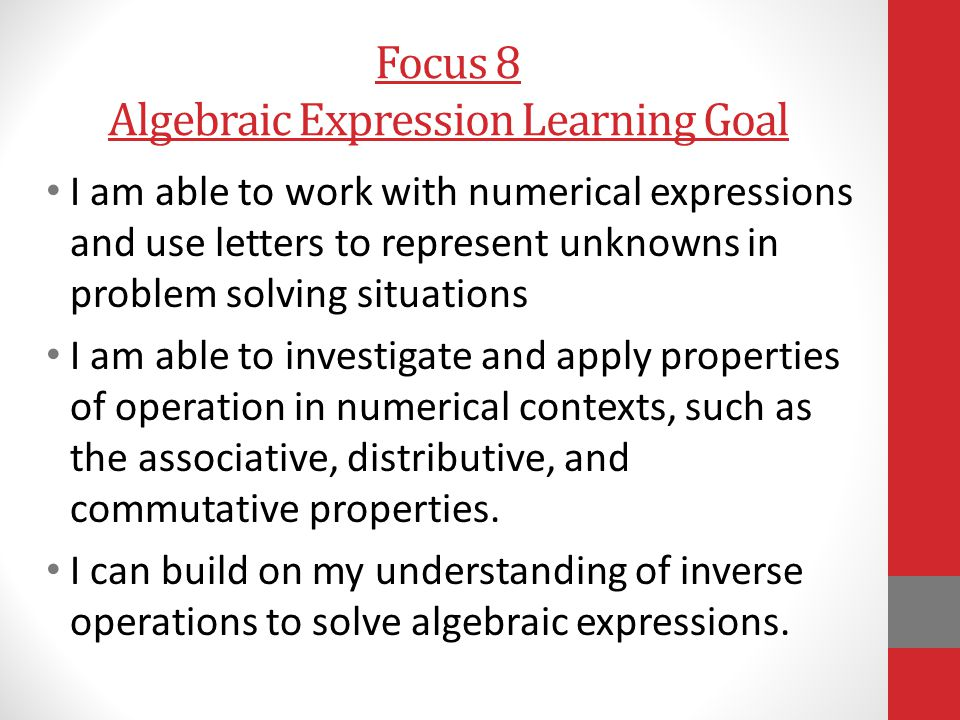 Focus 8 Algebraic Expression Learning Goal