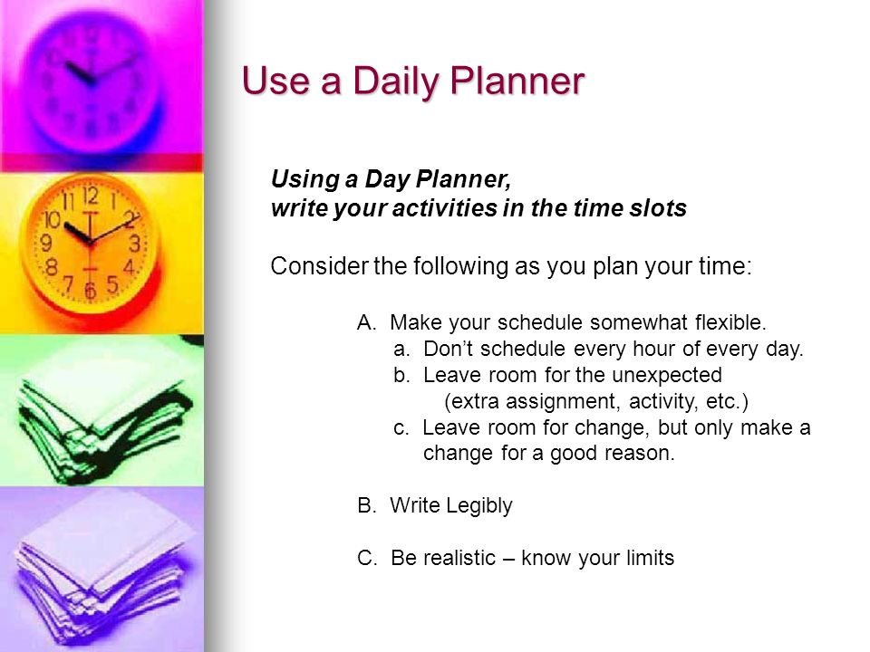 Use a Daily Planner Using a Day Planner,