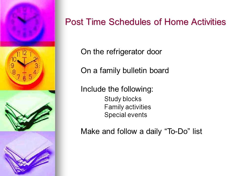 Post Time Schedules of Home Activities