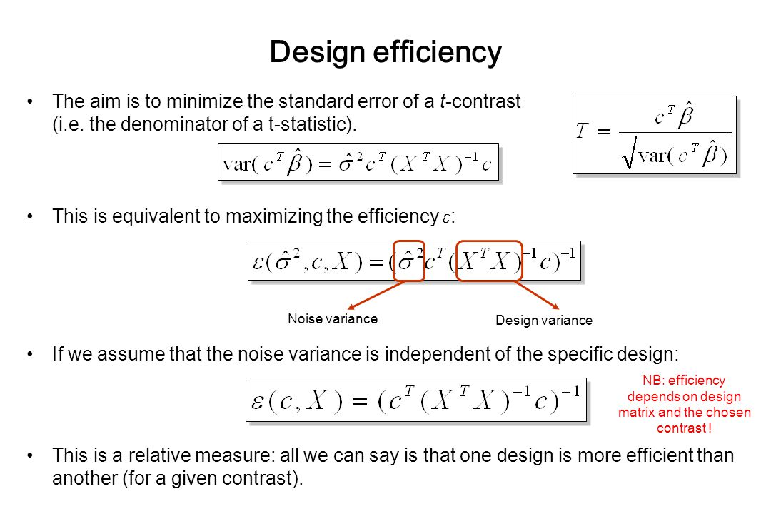 NB: efficiency depends on design matrix and the chosen contrast !