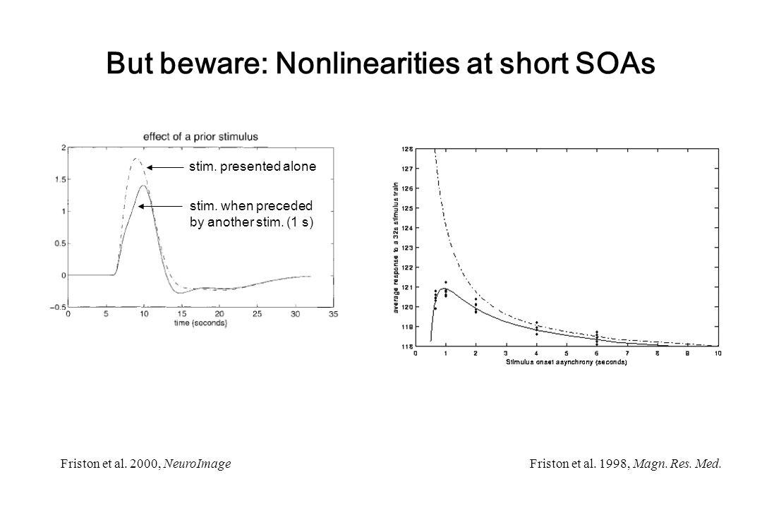 But beware: Nonlinearities at short SOAs