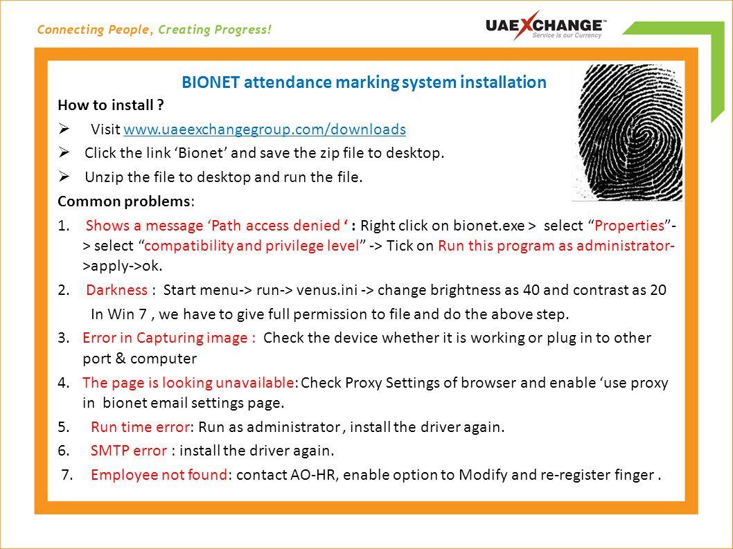 BIONET attendance marking system installation