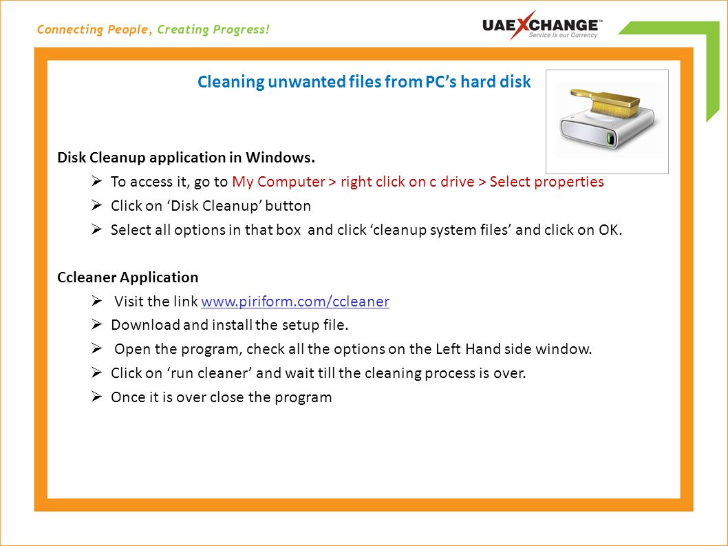 Cleaning unwanted files from PC's hard disk