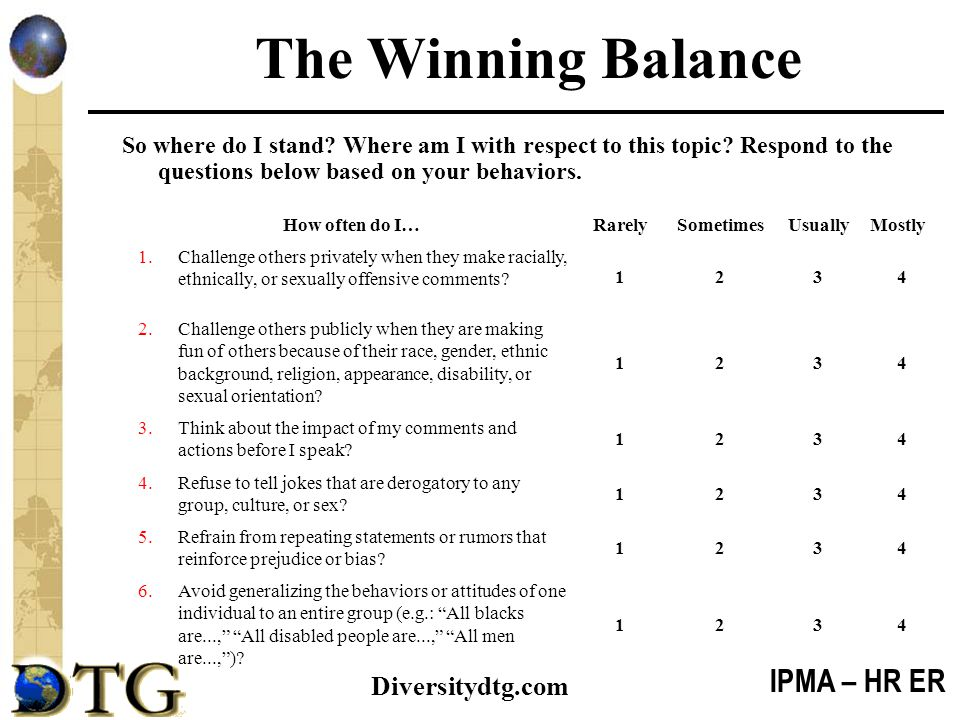 The Winning Balance So where do I stand Where am I with respect to this topic Respond to the questions below based on your behaviors.