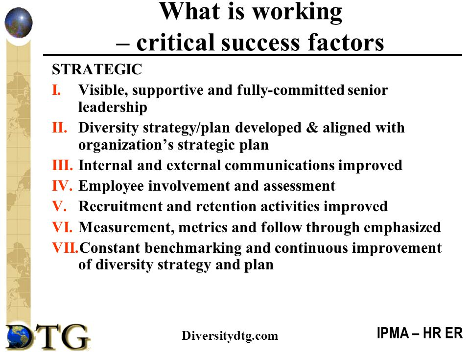 What is working – critical success factors