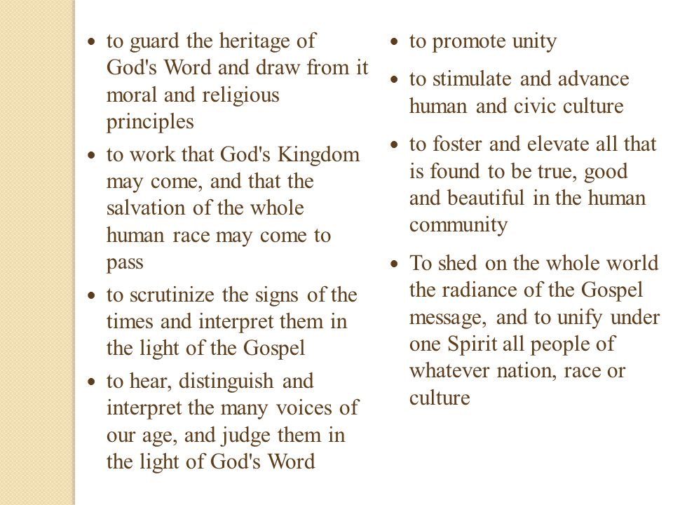 to guard the heritage of God s Word and draw from it moral and religious principles