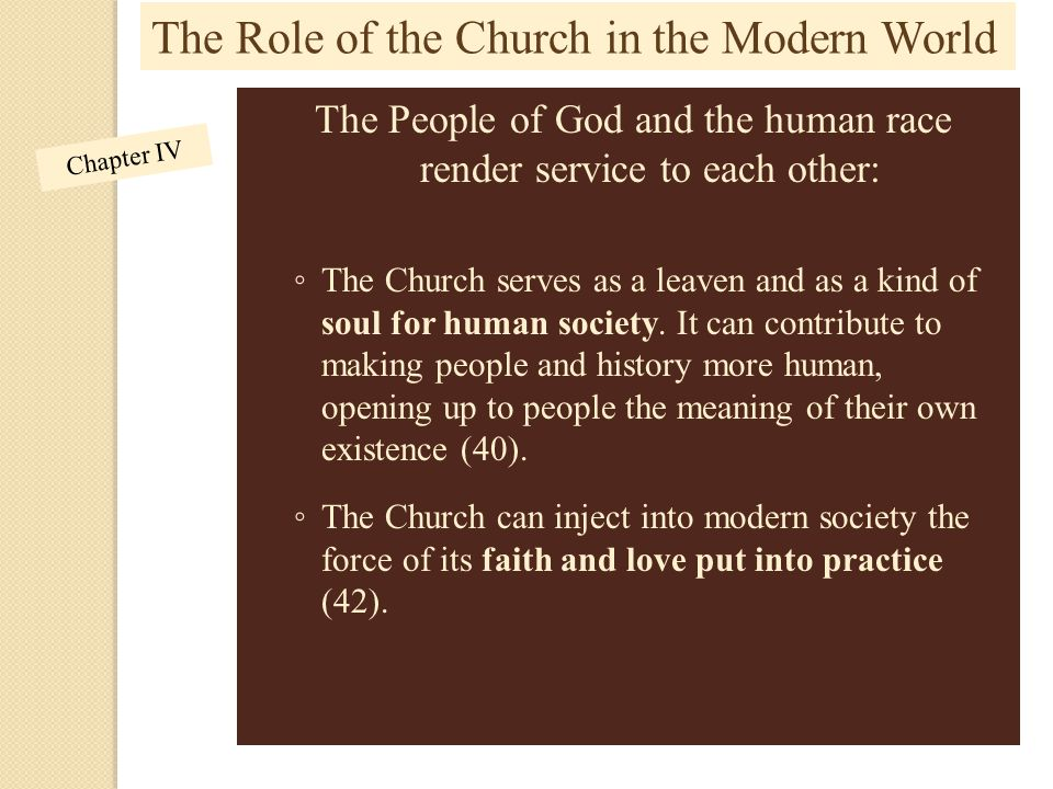 The People of God and the human race render service to each other: