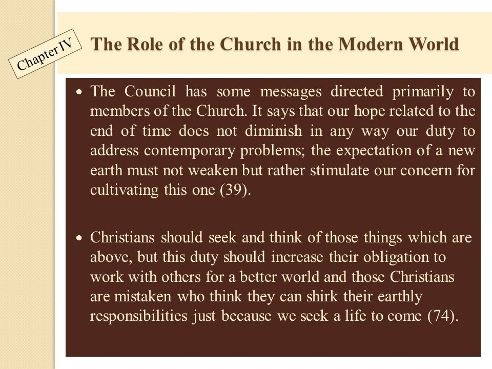 The Role of the Church in the Modern World