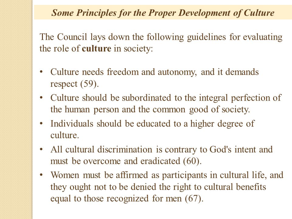 Some Principles for the Proper Development of Culture
