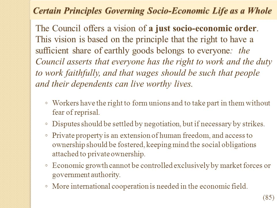 Certain Principles Governing Socio-Economic Life as a Whole