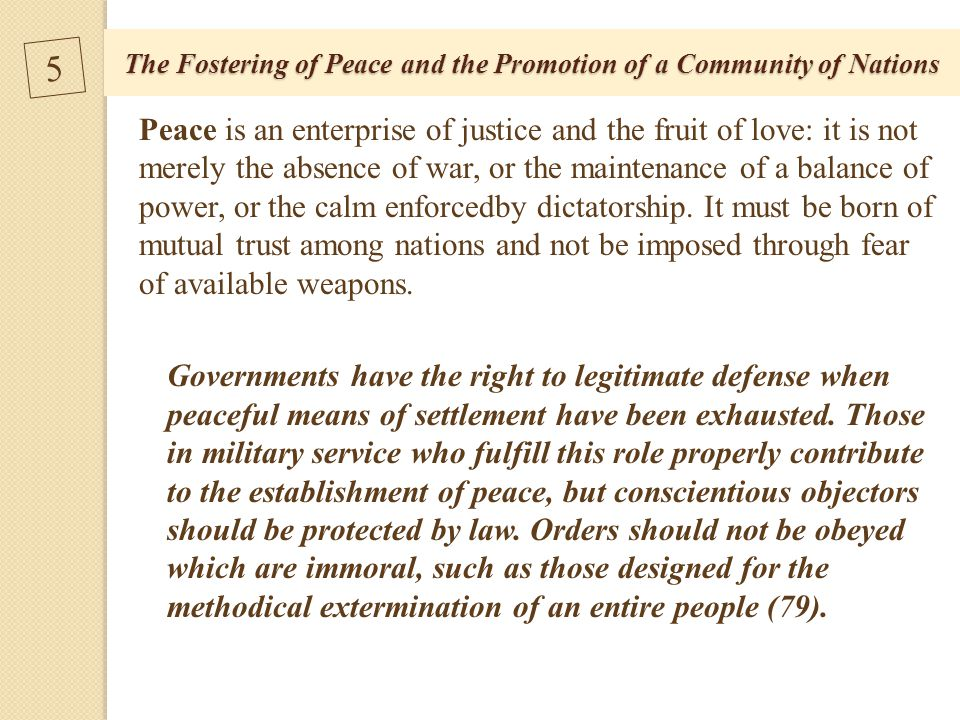 The Fostering of Peace and the Promotion of a Community of Nations