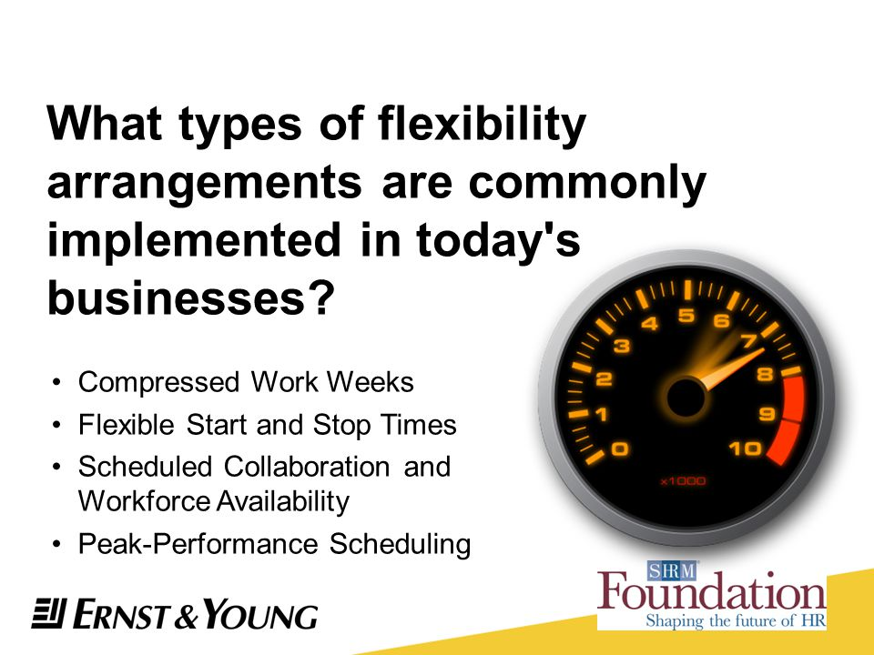 What types of flexibility arrangements are commonly implemented in today s businesses
