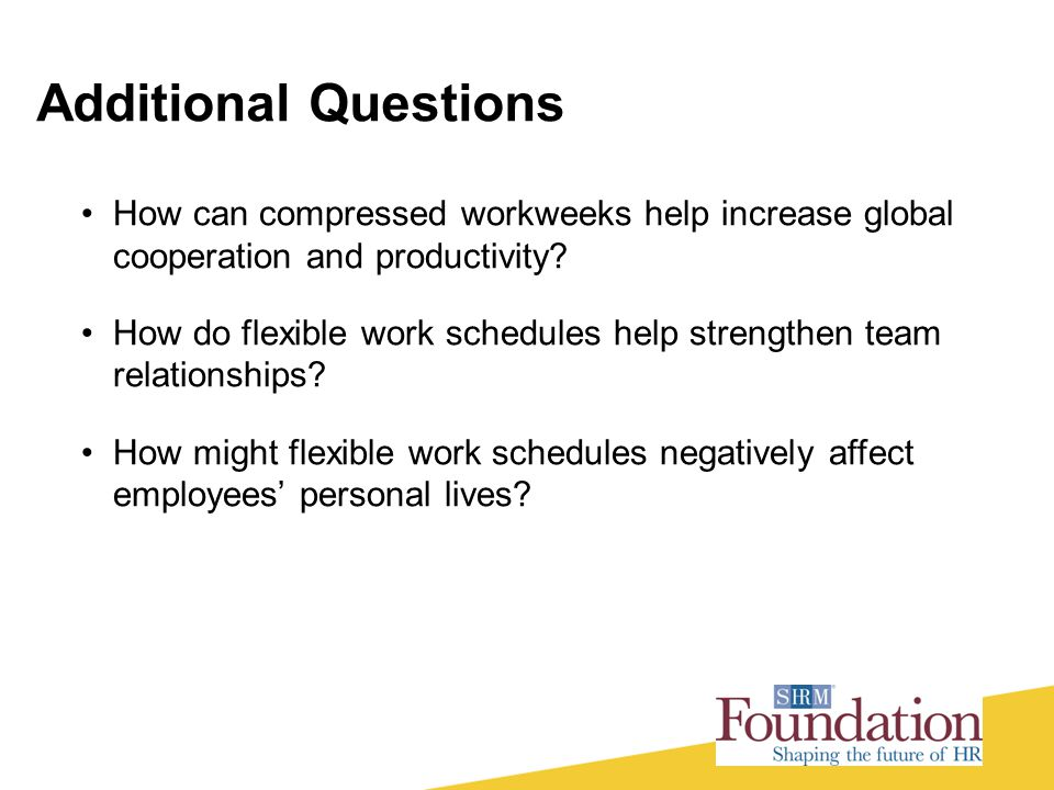 Additional Questions How can compressed workweeks help increase global cooperation and productivity