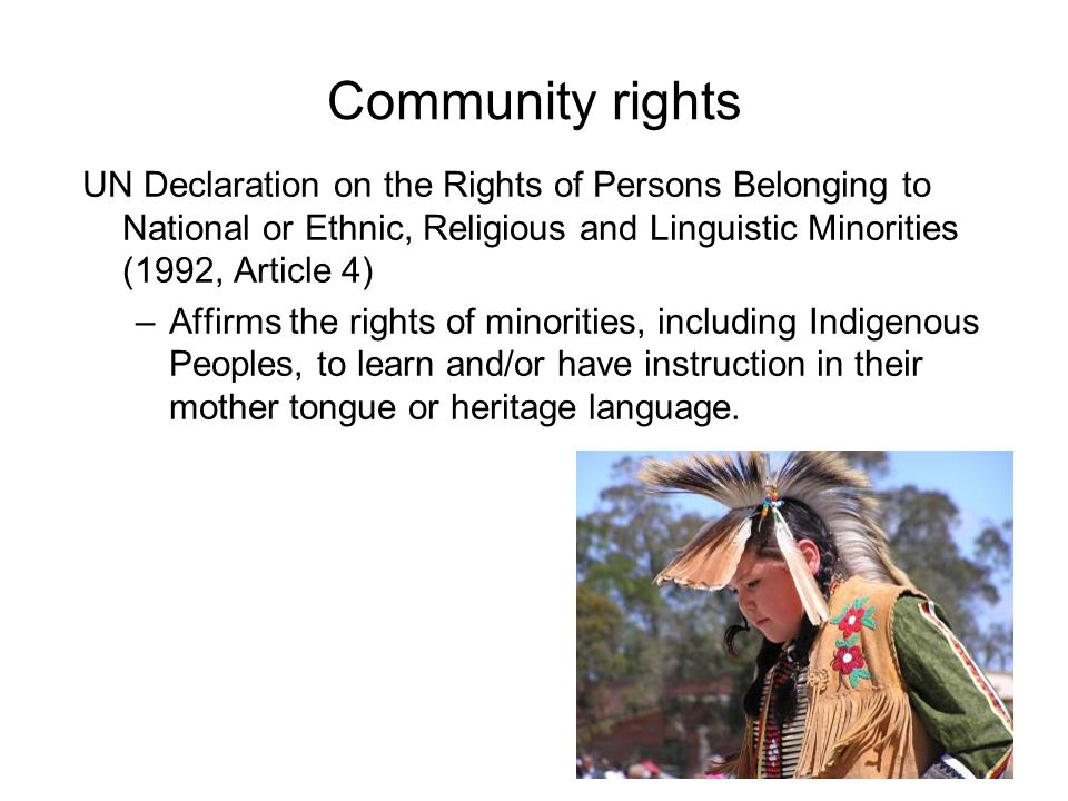 Community rights UN Declaration on the Rights of Persons Belonging to National or Ethnic, Religious and Linguistic Minorities (1992, Article 4)