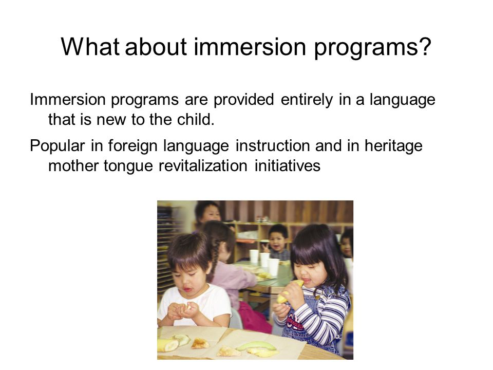 What about immersion programs