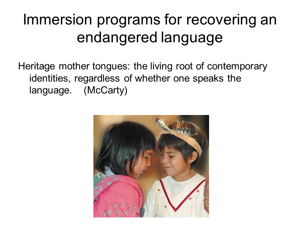Immersion programs for recovering an endangered language