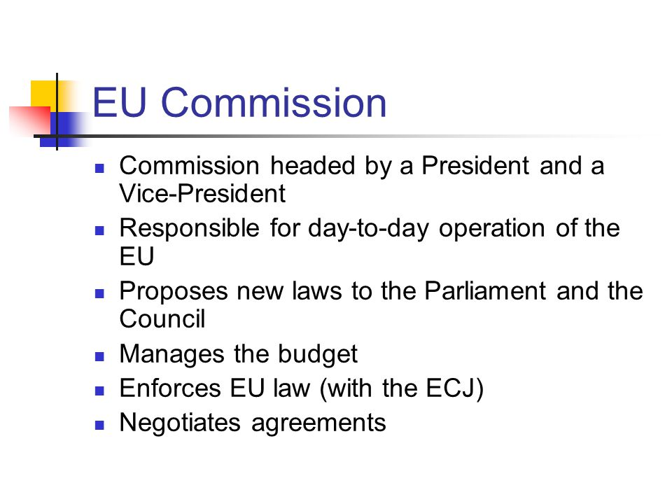EU Commission Commission headed by a President and a Vice-President