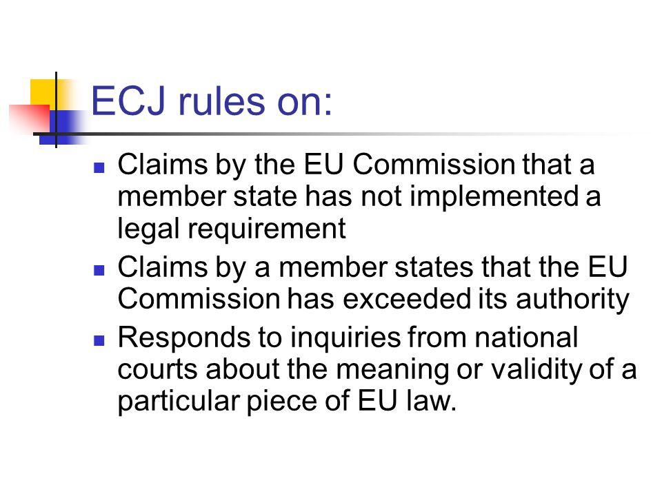 ECJ rules on: Claims by the EU Commission that a member state has not implemented a legal requirement.