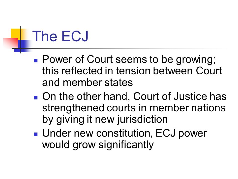 The ECJ Power of Court seems to be growing; this reflected in tension between Court and member states.