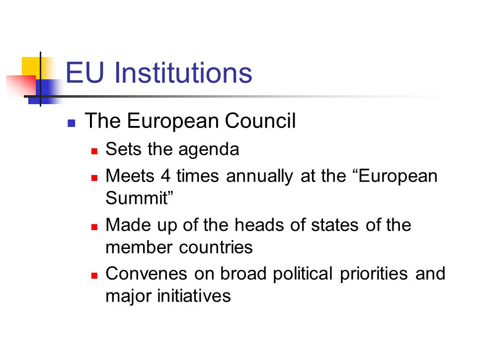 EU Institutions The European Council Sets the agenda