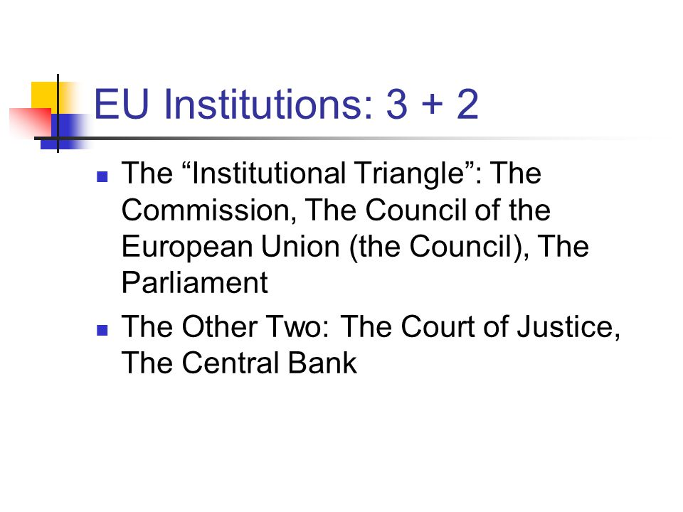 EU Institutions: 3 + 2 The Institutional Triangle : The Commission, The Council of the European Union (the Council), The Parliament.