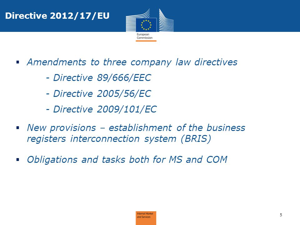 Amendments to three company law directives - Directive 89/666/EEC
