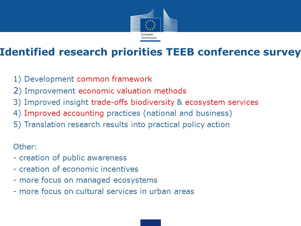 Identified research priorities TEEB conference survey