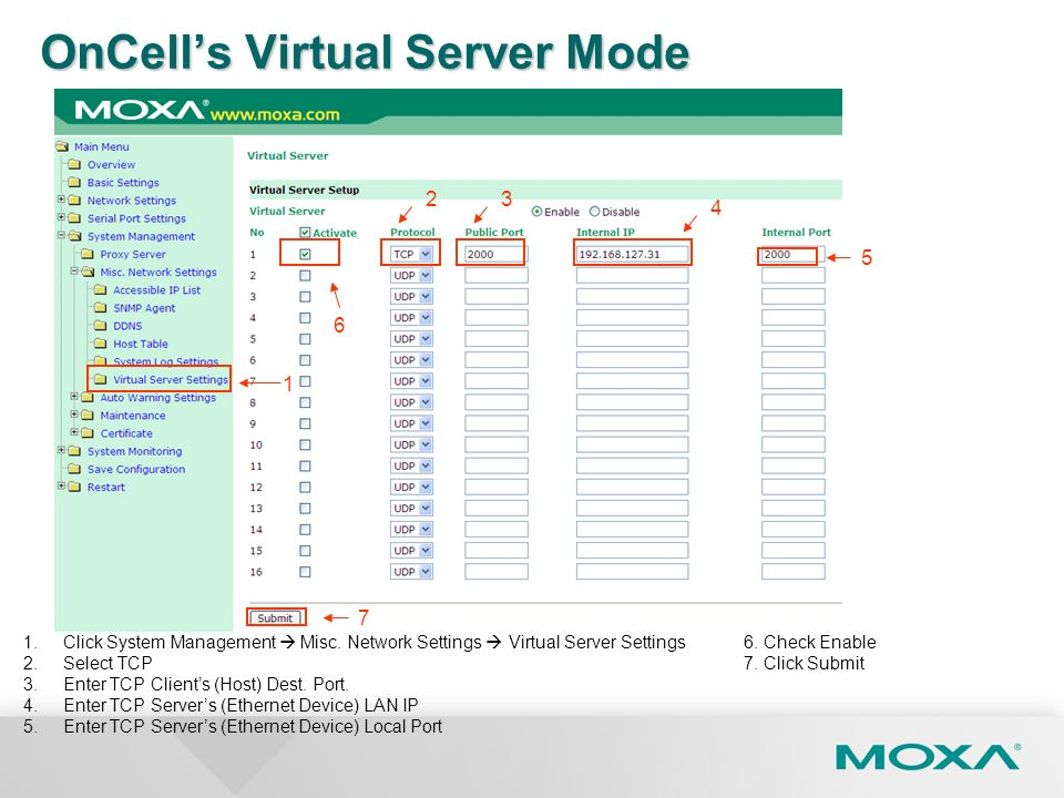OnCell's Virtual Server Mode
