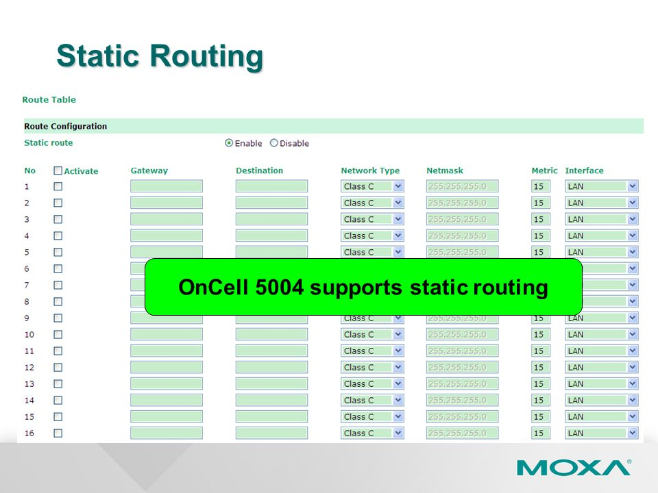 OnCell 5004 supports static routing