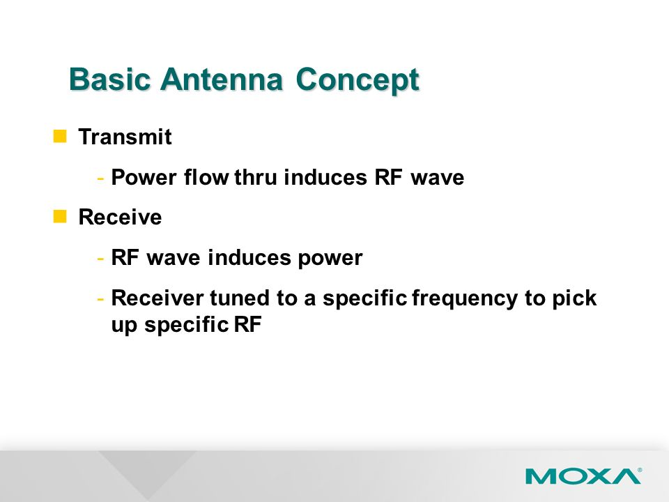 Basic Antenna Concept Transmit Power flow thru induces RF wave Receive