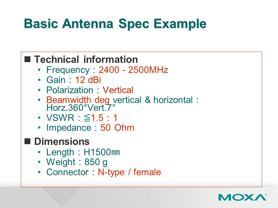Basic Antenna Spec Example