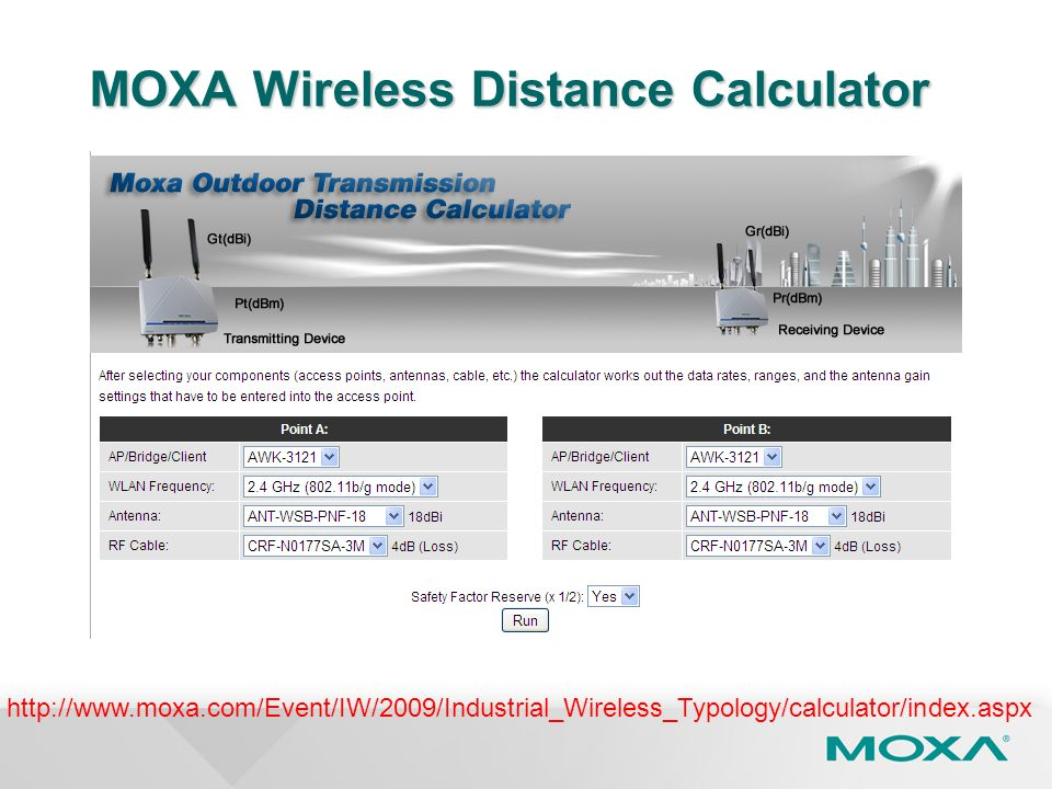 MOXA Wireless Distance Calculator