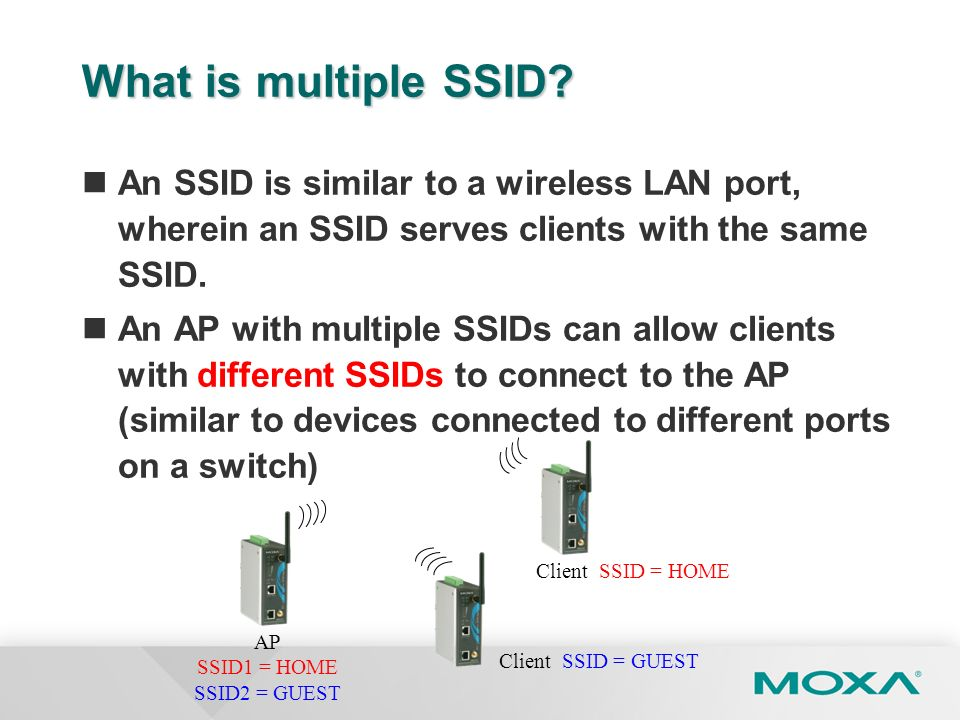 What is multiple SSID An SSID is similar to a wireless LAN port, wherein an SSID serves clients with the same SSID.