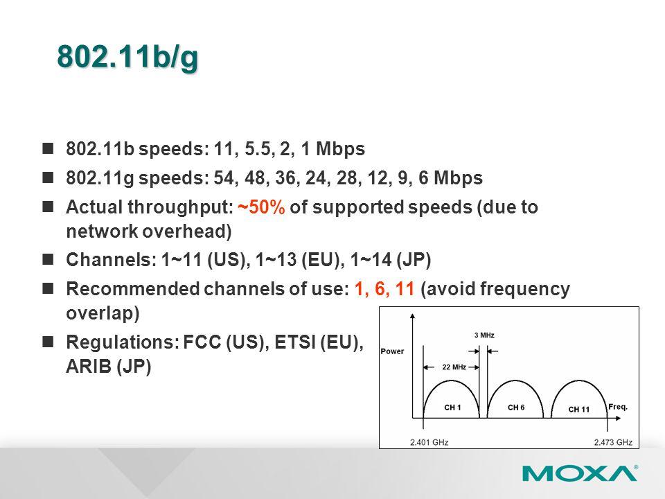 802.11b/g 802.11b speeds: 11, 5.5, 2, 1 Mbps. 802.11g speeds: 54, 48, 36, 24, 28, 12, 9, 6 Mbps.