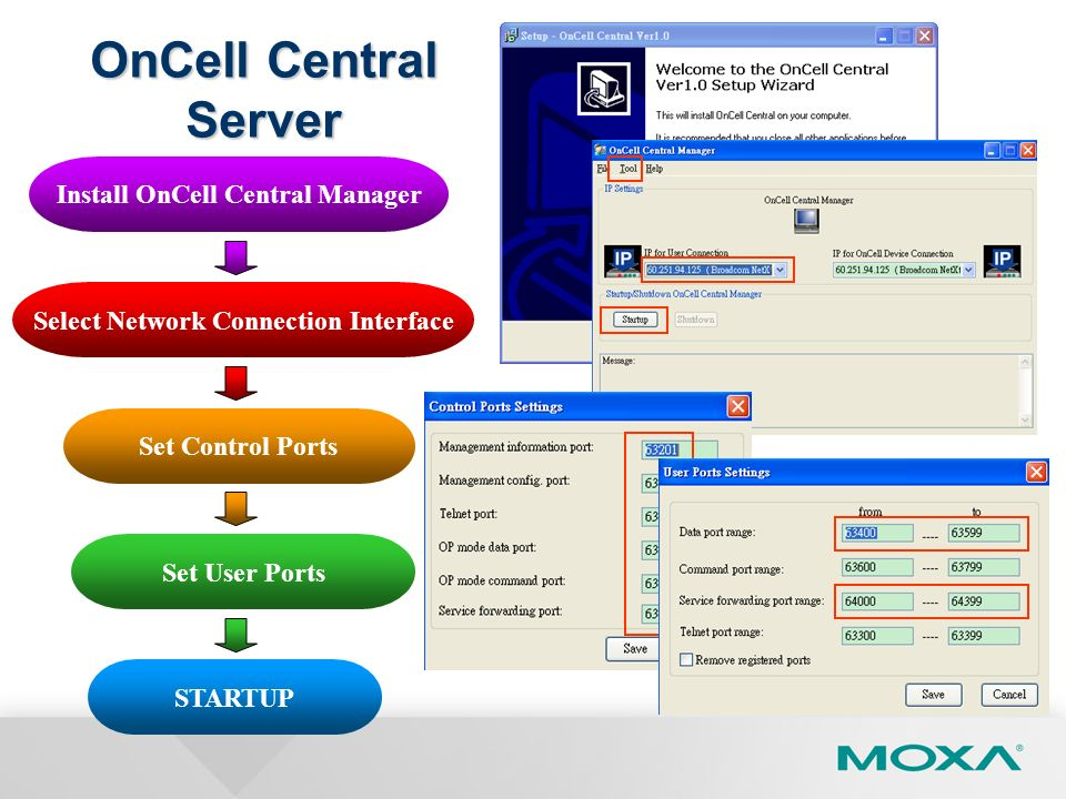 Install OnCell Central Manager Select Network Connection Interface