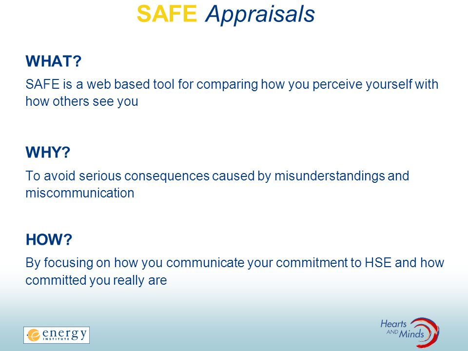 SAFE Appraisals WHAT WHY HOW