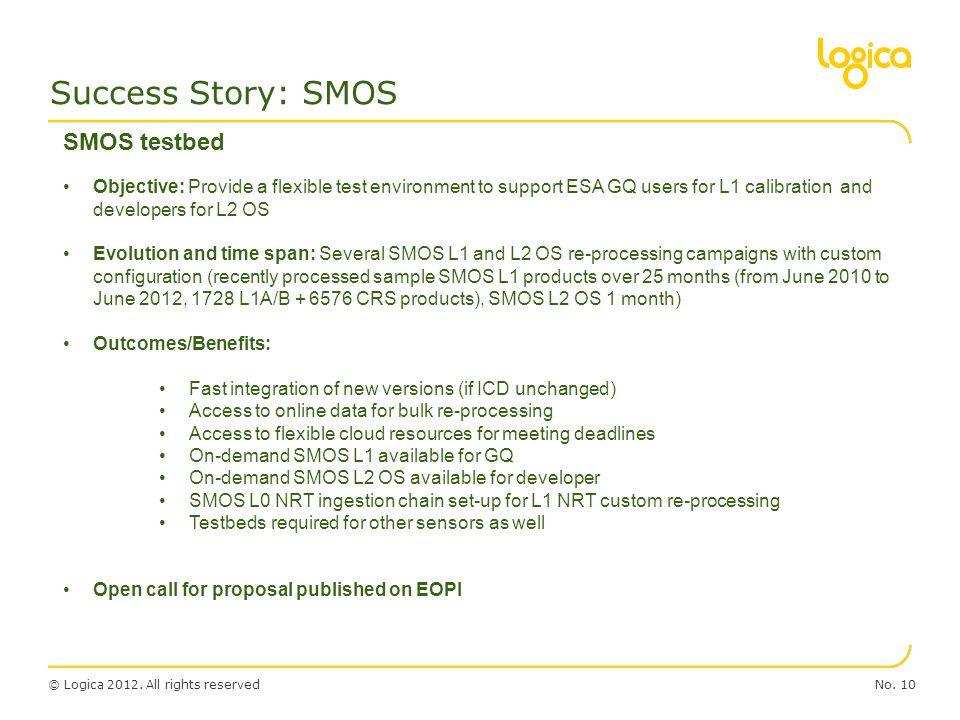 Success Story: SMOS SMOS testbed
