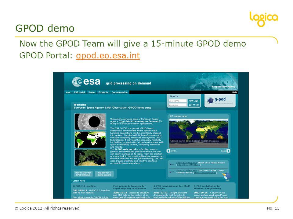GPOD demo Now the GPOD Team will give a 15-minute GPOD demo