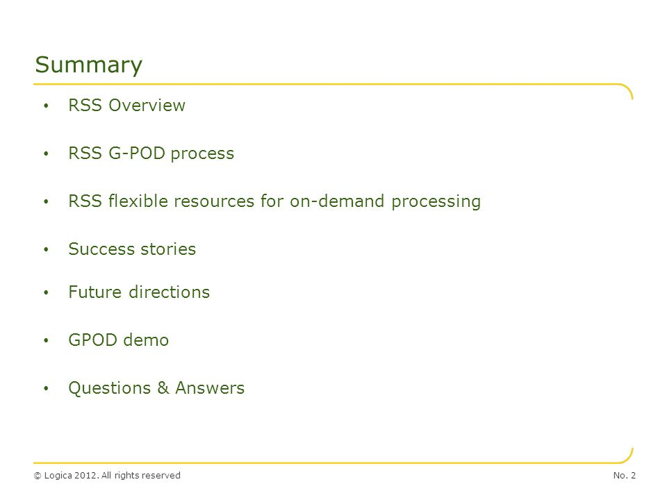 Summary RSS Overview RSS G-POD process